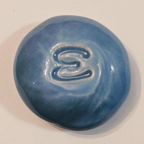 LETTER E Pocket Stone - Bluebonnet