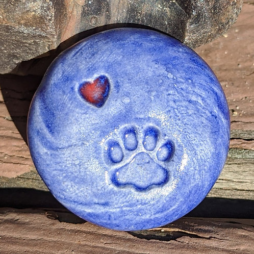 PAW PRINT w/HEART Pocket Stone - Vivid Blue
