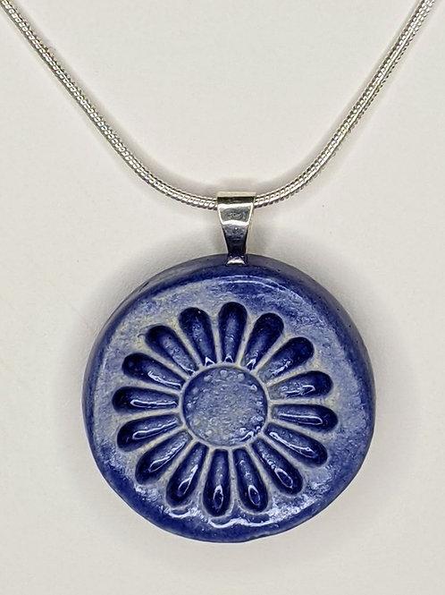 DAISY FLOWER Pendant/Necklace - Exotic Blue