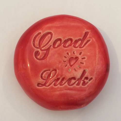 GOOD LUCK Pocket Stone - Red