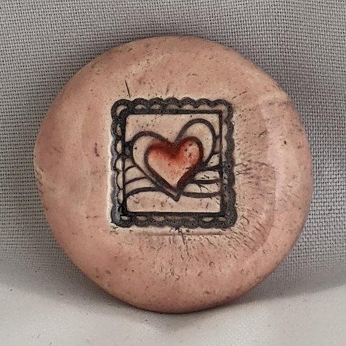 HEART STAMP Pocket Stone - Petal Pink