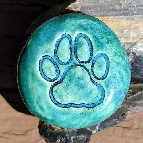 PAW PRINT Pocket Stone - Aquamarine