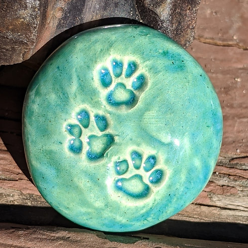 PAW PRINTS Pocket Stone - Aquamarine