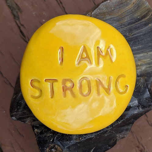 I AM STRONG Pocket Stone - Maize