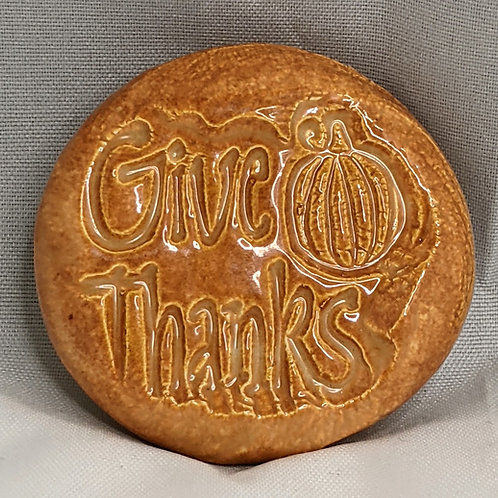 GIVE THANKS Pocket Stone - Butter Toffee