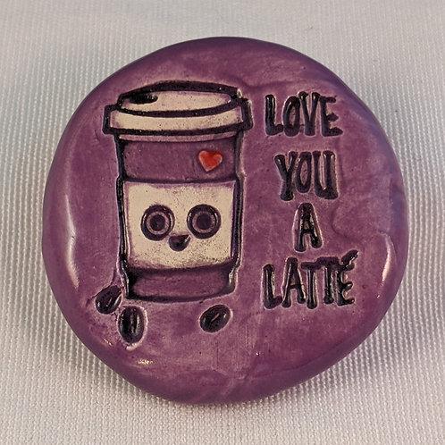 LOVE YOU a LATTE Pocket Stone - Amethyst Purple