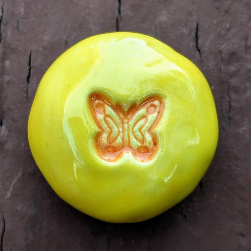 BUTTERFLY Pocket Stone - Bright Yellow