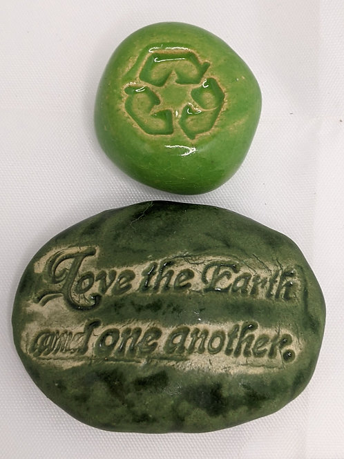 LOVE the EARTH - RECYCLE - Pocket Stones - Green