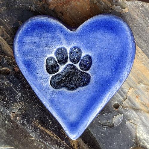 PAW PRINT Heart Stone - Vivid Blue