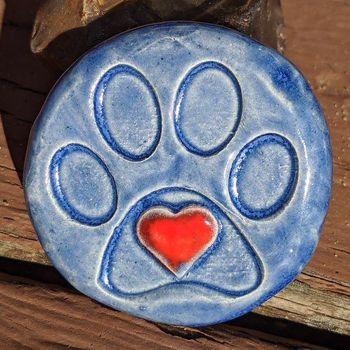 PAW PRINT w/HEART Pocket Stone - Sapphire Blue