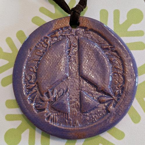 PEACE SIGN Necklace - Purple
