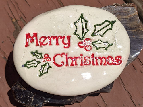 MERRY CHRISTMAS Pocket Stone - Red & Green