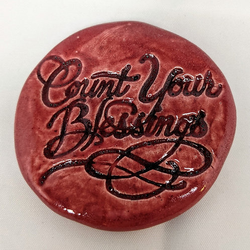 COUNT YOUR BLESSINGS Pocket Stone - Rose