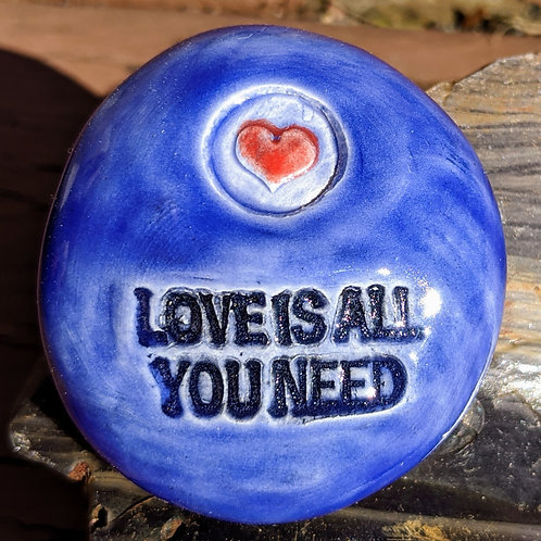 LOVE IS ALL YOU NEED w/ HEART Pocket Stone - Midnight Blue