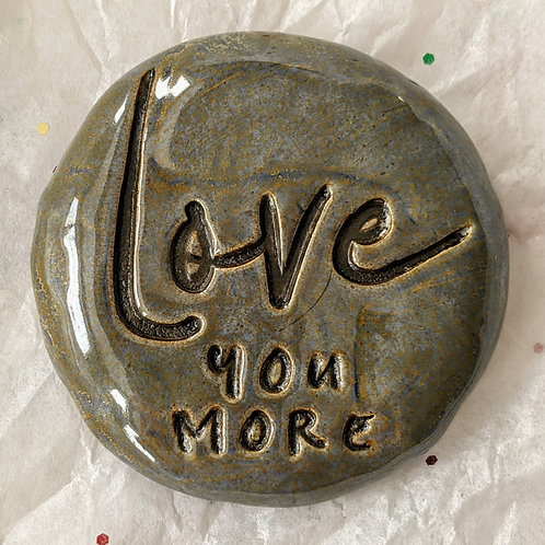 LOVE YOU MORE Pocket Stone - Antique Blue