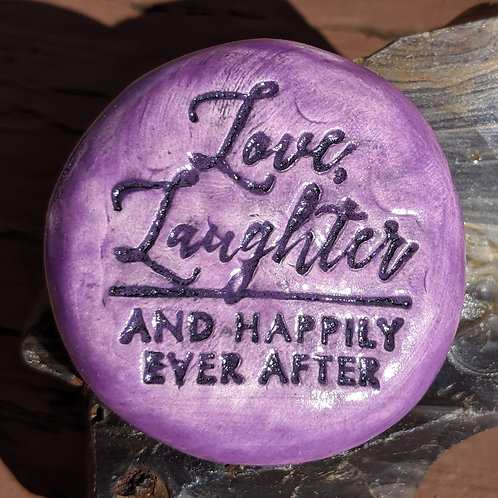 LOVE, LAUGHTER & HAPPILY EVER AFTER Pocket Stone - Amethyst Purple