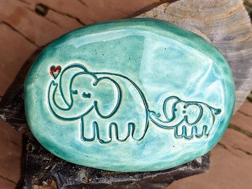 MAMA & BABY ELEPHANTS Pocket Stone - Aquamarine
