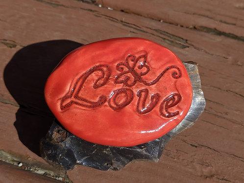 LOVE w/ BUTTERFLY Pocket Stone - Scarlet Red