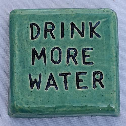 DRINK MORE WATER Word Tile - Aquamarine