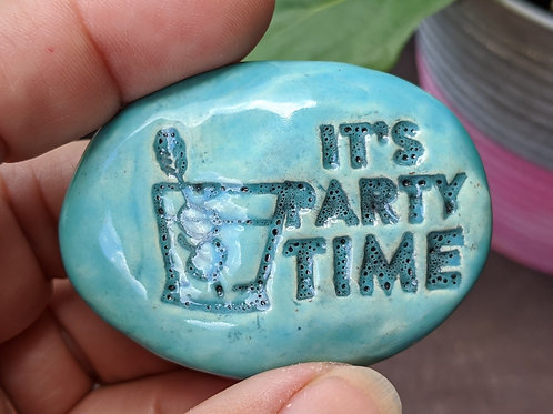 IT'S PARTY TIME Pocket Stone - Robin's Egg