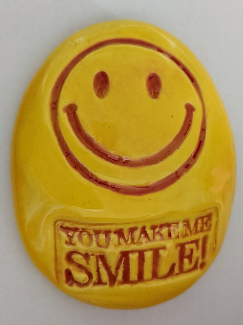 YOU MAKE ME SMILE w/ HAPPY FACE Pocket Stone - Bright Yellow Art Glaze - Inspi