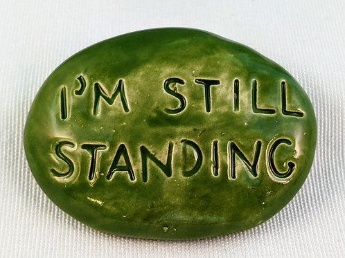 I'M STILL STANDING Pocket Stone - Emerald Green