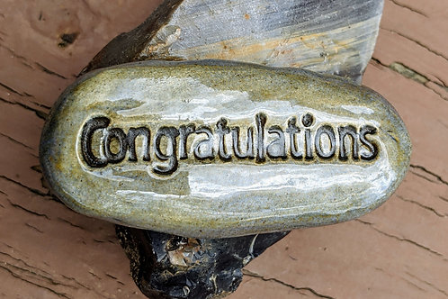 CONGRATULATIONS Pocket Stone - Antique Blue