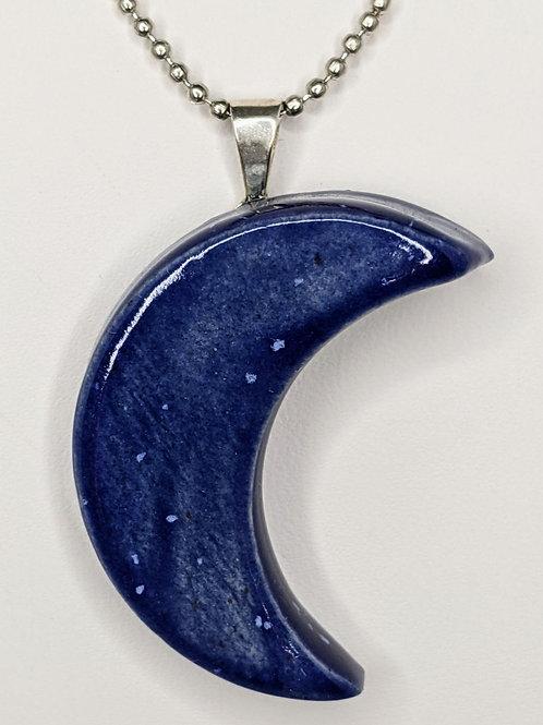 CRESCENT MOON Pendant/Necklace - Blue Enamelware