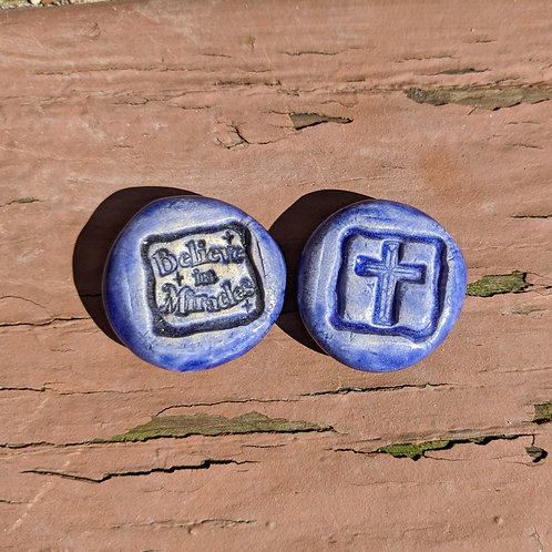 CHRISTIAN Pocket Stones - CROSS - BELIEVE IN MIRACLES - Exotic Blue