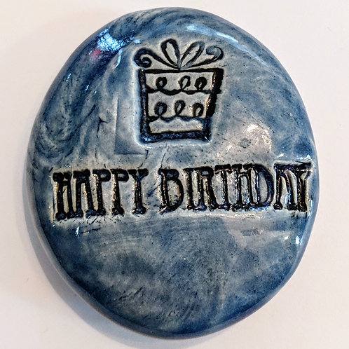 HAPPY BIRTHDAY Pocket Stone - Sapphire Blue