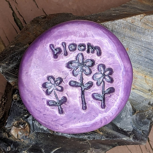 BLOOM with FLOWERS Pocket Stone - Amethyst Purple