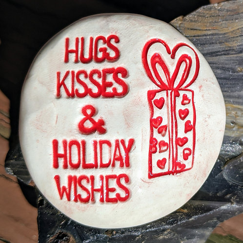 HUGS KISSES & HOLIDAY WISHES Pocket Stone - Red on White