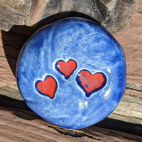 THREE HEARTS Pocket Stone - Midnight Blue