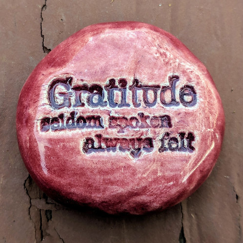 GRATITUDE Pocket Stone - Cherry Red