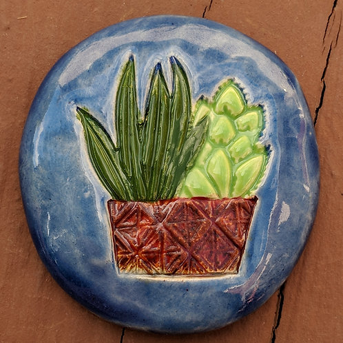 SUCCULENTS Pocket Stone - Hand-Glazed