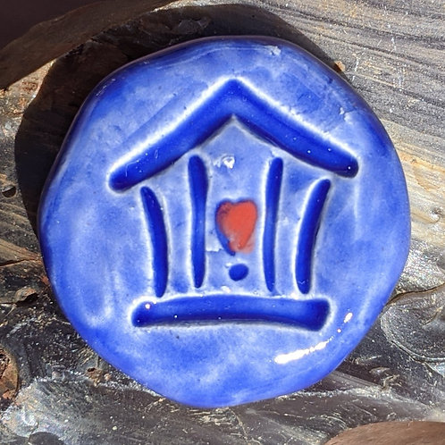 HOME IS WHERE THE HEART IS Pocket Stone - Vivid Blue