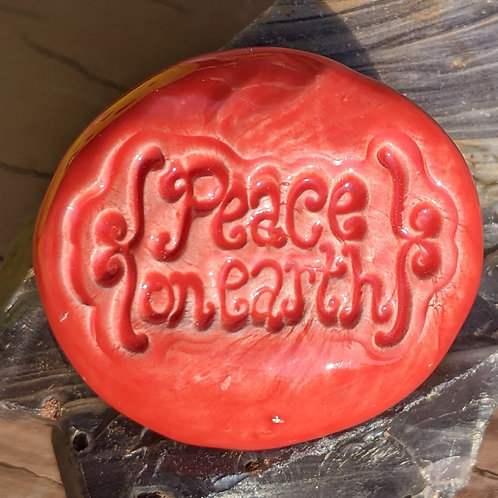PEACE ON EARTH Magnet - Scarlet Red