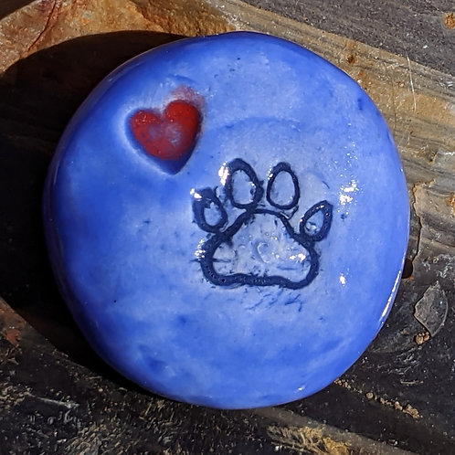 PAW PRINT w/HEART Pocket Stone - Medium Blue