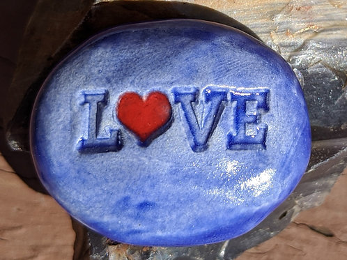 LOVE w/ HEART Pocket Stone - Exotic Blue
