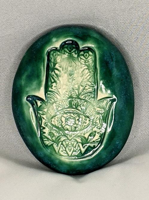 HAMSA HAND Pocket Stone - Turquoise