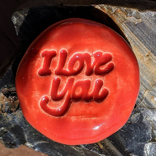 I LOVE YOU Pocket Stone - Fire Engine Red