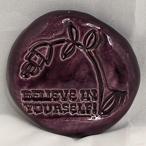 BELIEVE IN YOURSELF Pocket Stone - Purple