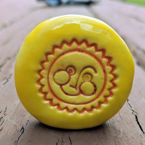 SUN FACE Pocket Stone - Stands - Sun Yellow