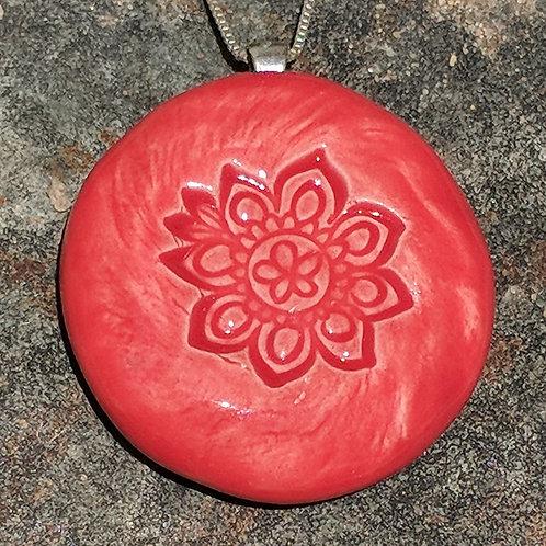 MANDALA FLOWER Pendant ~ Scarlet Red