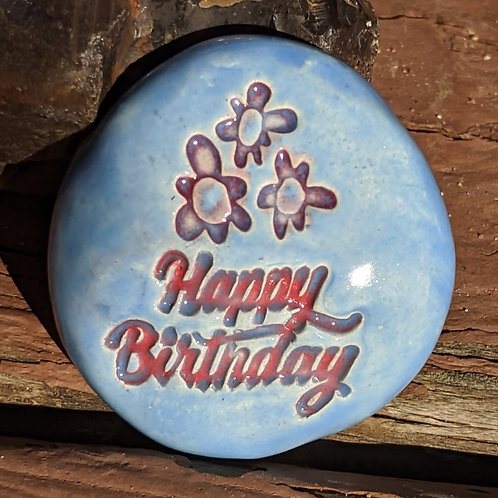 HAPPY BIRTHDAY w/ FLOWERS Pocket Stone - Bluebonnet