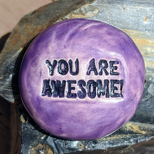 YOU ARE AWESOME! Pocket Stone - Tanzanite