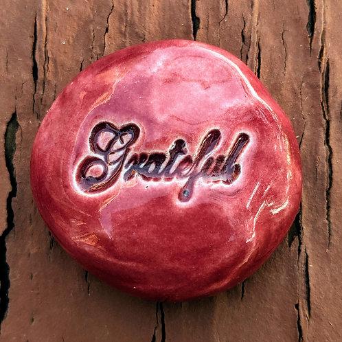 GRATEFUL Pocket Stone - Cherry Red