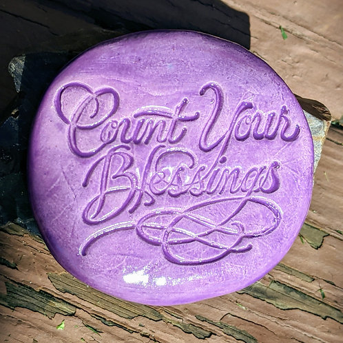 COUNT YOUR BLESSINGS Pocket Stone - Amethyst Purple