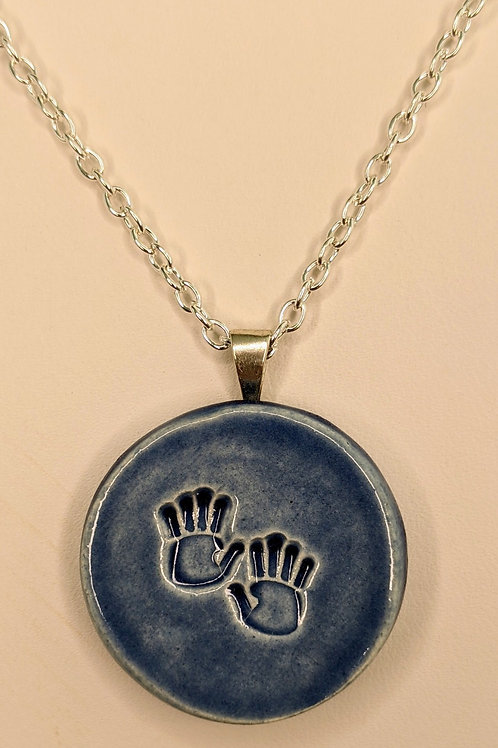 HAND PRINTS Pendant/Necklace - Denim Blue