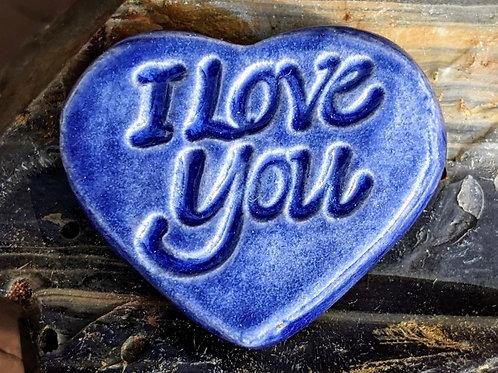 I LOVE YOU Heart Stone -Sapphire Blue